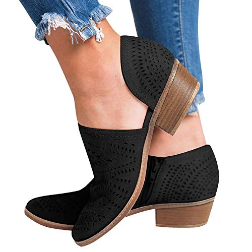 GOUPSKY Women's Ankle Boots Slip On Loafers Pointed Toe Chunky Block Low Heel Office Dress Casual Shoes Cutout Booties Black