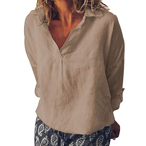 Finedayqi ???? Woman Dress,Women Fashion Loose V Neck Linen Plus Size Solid Daily Casual Shirt Blouse Tops Khaki