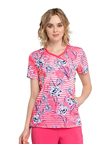 Line Mock Wrap - Infinity by Cherokee CK608 Women's Mock Wrap Top,Line Me Up Floral,X-Small