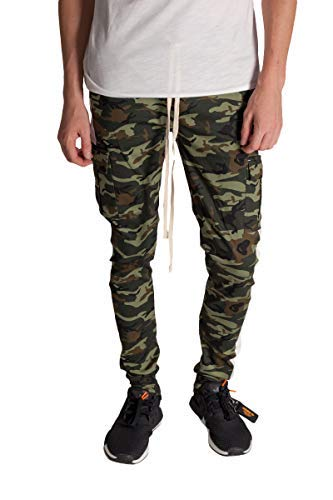 (KDNK Men's Tapered Skinny Fit Stretch Twill Cargo Ankle Zip Camo Track Pants (XX Large, Olive Camo/White Stripe))