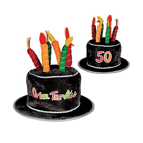 Bargain World Plush 50 Over-The-Hill Birthday Cake Hat (with Sticky Notes)
