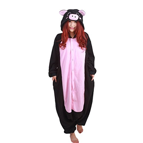 Outfits For Adults (ABING Halloween Pajamas Homewear OnePiece Onesie Cosplay Costumes Kigurumi Animal Outfit Loungewear,Black Pig Adult M -for Height 159-166CM)
