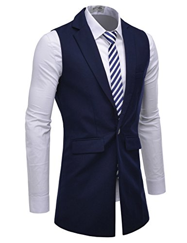 NEARKIN (NKNKLV600 Mens Notched Lapel One Button Slim Fit Long Waistcoat Navy US XXL(Tag Size 2XL)