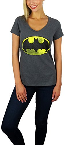 DC Comics Womens Batman Distressed Logo V-Neck Tee (Charcoal, Medium) ()