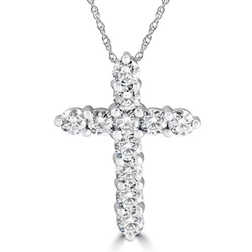 - 3CT Diamond Cross Pendant 14K White Gold Womens Round Brilliant Cut 18