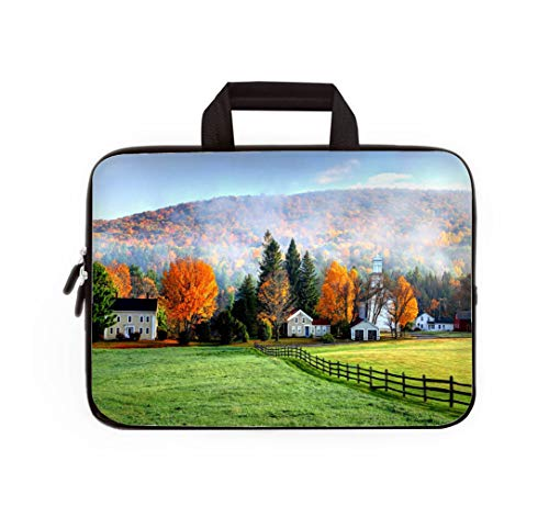 Double Zipper Laptop Bag,Autumn Mist in The Village of Tyringham in The Berkshires,13 inch Canvas Waterproof Laptop Shoulder Bag Compatible with 11.12.6