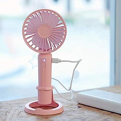 Ventilador de Mesa Recargable por USB, 4 Pulgadas, Ventilador de Carga Manual de 3 velocidades, Ventilador portátil USB Recargable de Mano, Ventilador de refrigeración portátil Rosa: Amazon.es: Informática