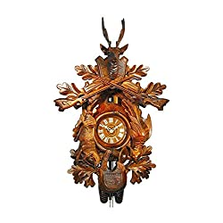 August Schwer Authentic Black Forest Cuckoo Clock Hunting Clock with Hanging Animals 8-Day Movement