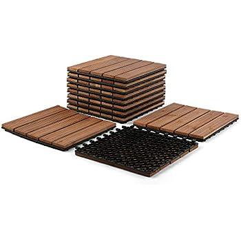 "Hardwood Deck Patio Pavers Interlocking Wood Composite Patio Tiles for Outdoor /& Indoor Partuys Solid Wood Tile Flooring 11PCS Stripe Pattern 12 x 12/"""