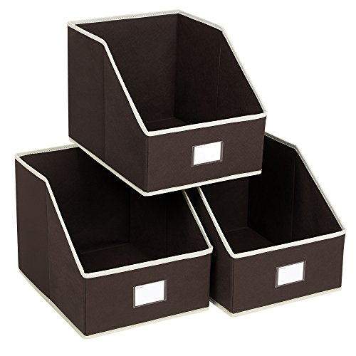 SONGMICS 3 Pack Open Storage Bins Foldable Trapezoid Storage Cubes Non-Woven Cloth Organizers with Label Holders for T-Shirts Sweaters etc, Brown UROB03K (Bins Set Storage Folding)
