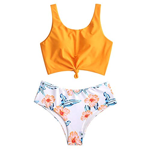 ZAFUL Women's Scoop Neck Tropical Leaf Knotted Two Pieces Tankini Set Swimsuit (Multi-C, M)