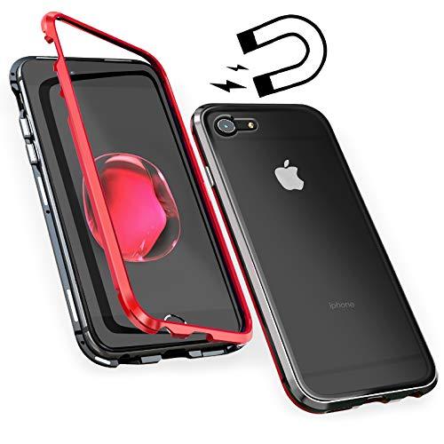 鼻マイクロラグスマホ iPhone 7 8 ケース マグネット 金属ケース 透明な強化ガラスケース [超薄型 超軽量] [背面クリア 保護スマホケース] [レンズ保護 衝撃防止 擦り傷防止] ワイヤレス Qi充電 取り付けやすい 磁気吸着 アイフォン 携帯カバー(iPhone 7/8, 赤+黒)