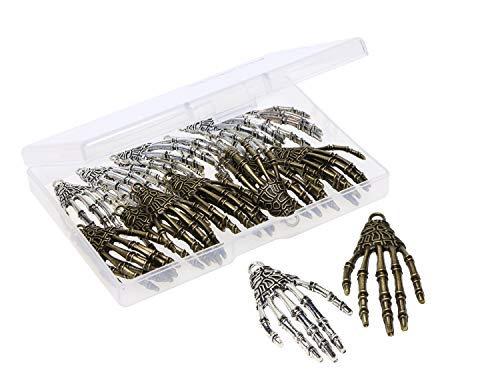 Shapenty Metal Skeleton Skull Hand Claws Charm Accessories Punk Horror Bone Claw for Halloween Party Decoration and Necklace Pendant Earrings Key chain Jewelry Making, Antique Silver and Bronze, 20PCS]()