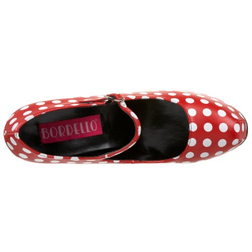 Womens 5 3/4 Inch Heel Polka Dot Mary Jane With Concealed Platform (Red/White;9) SpRU3QBdwp