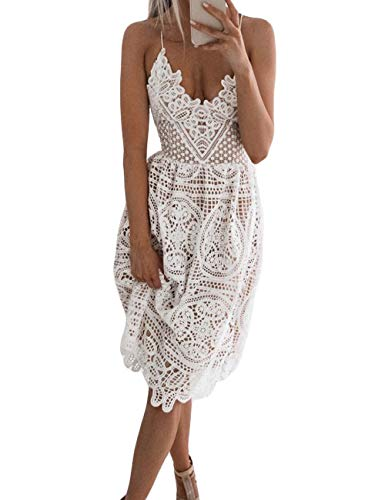 - FUZEELY Women's Sexy Lace Spaghetti Strap V-Neck High Waist Back Cross Knee-Length Applique Lantern Summer Dress White