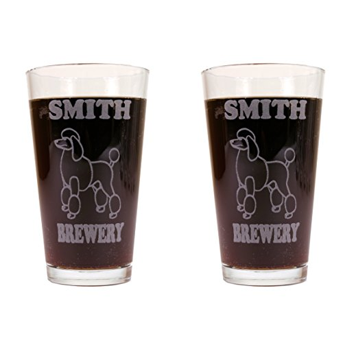 Personalized Custom Beer Mugs With Dog Breeds - 2 Pack of Made in USA Pint Glasses (Poodle)