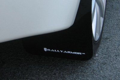 Rally Armor MF10-UR-BLK/WH Black, White Mud Flap with Logo (2008+ Mitsubishi Evo X UR)