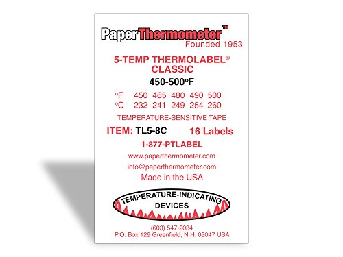 5-Temp Thermolabel Classic 450-500/°F Temperature Label for Metal Coating Powder Coating Pack of 16 Labels