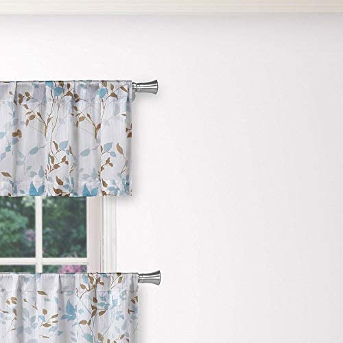Vera Neumann – Idella Multi-Color Floral Linen Textured Kitchen Tier Valance Set Small Window Curtain for Cafe, Bath, Laundry, Bedroom – Blue