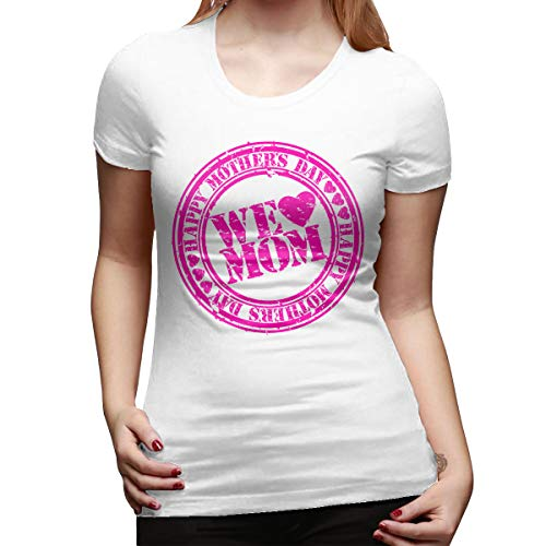 LinGing Women's Custom Lovely Tee Shirt Happy Mother's Day Rubber Stamp Short Sleeve New T-Shirts White L ()