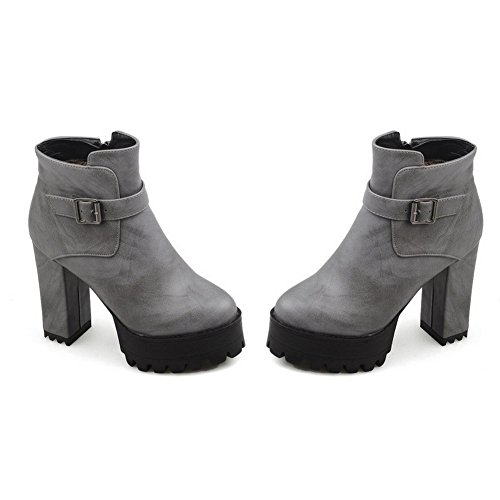 Boots Zipper Material Heels Toe Gray Closed Round Low Allhqfashion Women's top Soft High wPctqX