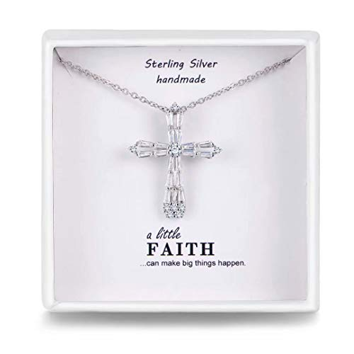 Presentski Cross Necklace for Women With 925 Sterling Silver Chain ,Platinum Plated Cubic Zirconia Cross Pendant Necklace, Jewelry Christmas Gifts for Women