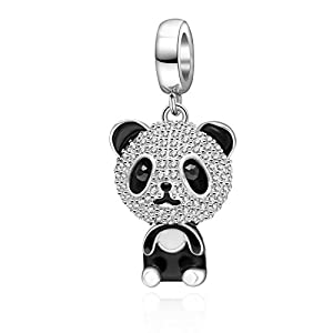 Hoobeads Happy Family Animal Panda Crystal Charms 925 Sterling Silver Puppy Dog Pendants Lovely Koala Bear Pets Bead