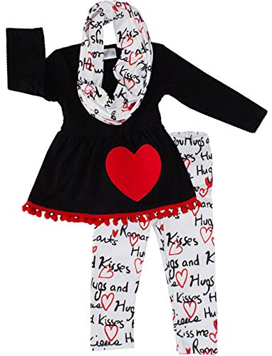 Amor Bee Girls Valentines Day Love Hearts Outfit Set - Top Leggings Scarf 3pc Set