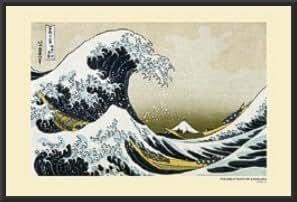 Great Wave at Kanagawa Hokusai Poster Dry Mounted Wood Framed, 24x36.