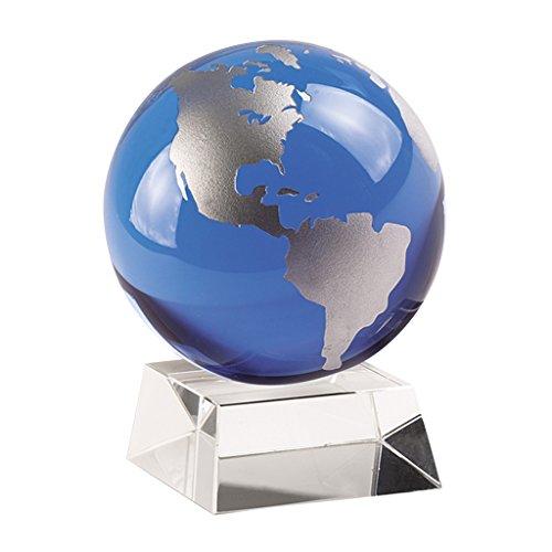 Badash - Cobalt Blue And Silver Globe On Crystal Base 4.5