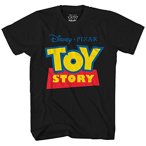 (Disney Pixar Toy Story Logo Disneyland World Tee Funny Humor Men's Graphic T-Shirt (Black, Large))