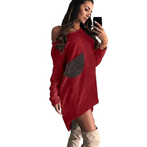 T Low High Orange Pocket Linaking Irregular Dress Dress One Knitted Shoulder for Lady Top Long Sleeve Shirt Hipsters PqPftI