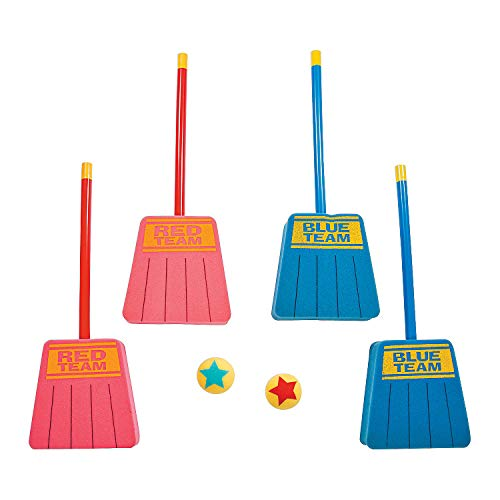 Fun Express - Foam Broom Hockey Game (14pc) - Toys - Active Play - Recess & PE Play - 14 Pieces -