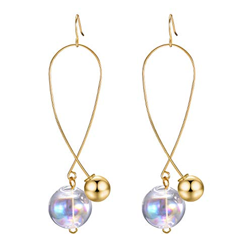 FAMARINE Ball Drop Earrings, Colorful Mermaid Bubble Drop Dangle Earrings for Women Fashion Jewelry,Gold ()