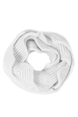Basico Women Winter Infinity Scarf Warm Knitted Circle Loop Various Colors (Tulip 2pk White/Red)