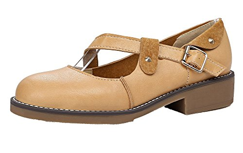 AllhqFashion Damen PU Leder Rund Zehe Niedriger Absatz Rein Pumps Schuhe Aprikosen Farbe