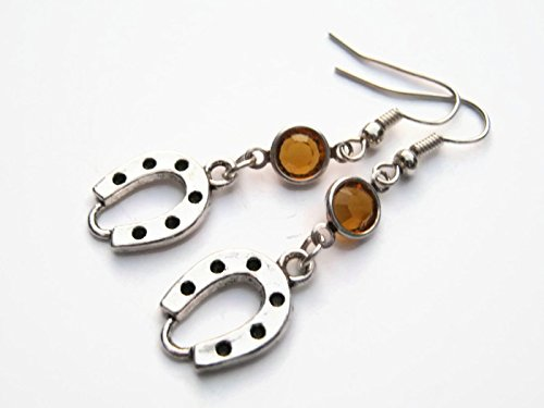 Horseshoe Birthstone Earrings, Personalized Cowgirl Earrings, Farm Country Jewelry, Good Luck -