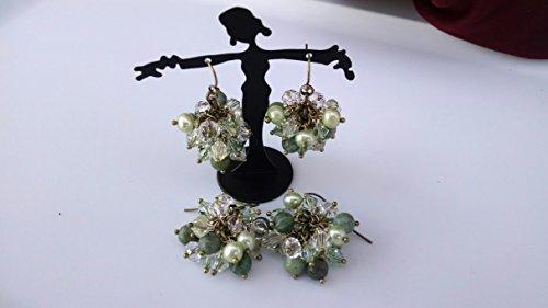 (Jade, Freshwater Pearl cluster earrings)