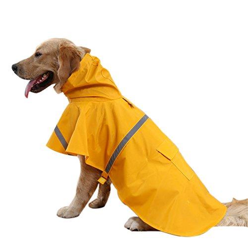 Rumfo Dog Raincoats Fashion Adjustable Pet PU Waterproof Clothes Lightweight Rain Jacket Poncho with Strip Reflective (XL, - Vs Visor Running Hat