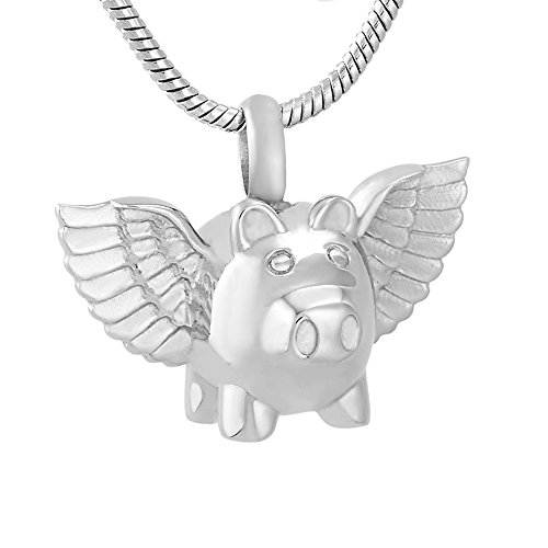 FLYING PIG Cremation Urn Necklace Hold Pet Ashes Keepsake Memorial Locket Pendant + Box+ Fill ()