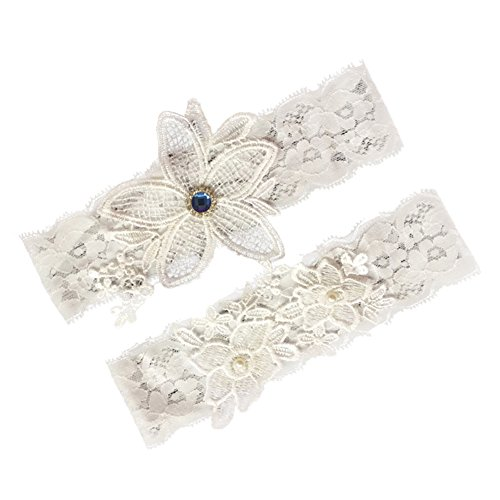 (canjoyn Wedding Bridal Lace Garter Set Keepsake Toss Tradition Vintage, 2pc (02-Ivory))