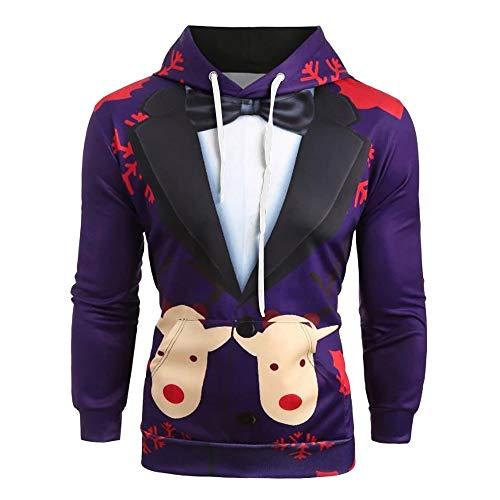 GOVOW Christmas Sweatshirt For Men Couple Cute 3D Santa Print Ugly Christmas Elk Pocket Hoodies Pullover
