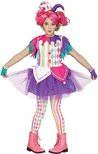 Girls Kids Teens Bright Jester Clown Circus Carnival Halloween Rainbow Fancy Dress Costume Outfit 7-14 Years (12-14 Years) ()