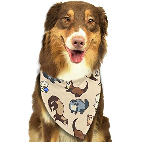 Adorable Ferret Pattern Pet Dog Bandanas Triangle Bibs Pet Scarf Accessories for Dogs, Cats, Pets Animals