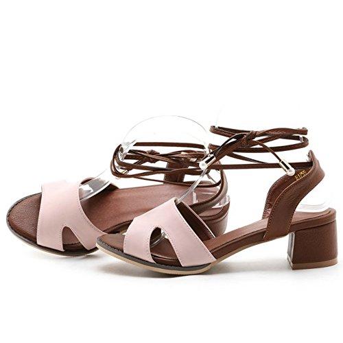 COOLCEPT Mujer Moda Cordones Sandalias Punta Abierta Tacon Ancho Slingback Zapatos Rosado