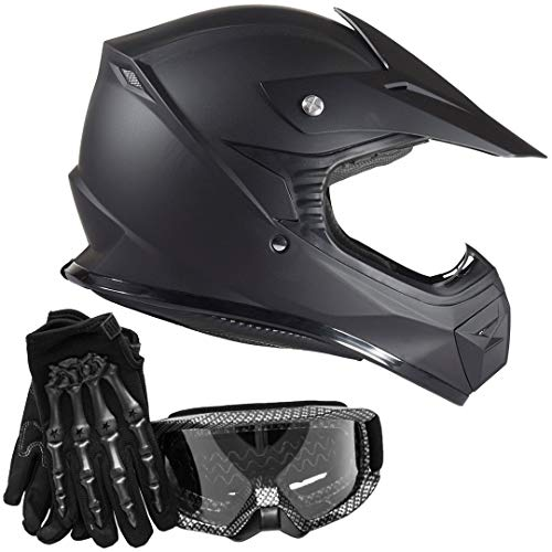 Youth Kids Offroad Helmet Gloves Goggles GEAR COMBO - Carbon Fiber, Matte Black (XL)