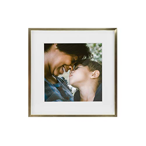 Tiny Mighty Frames - Gold Metal Square Photo Frame, 11x11 (8x8 Matted) (1, Gold)
