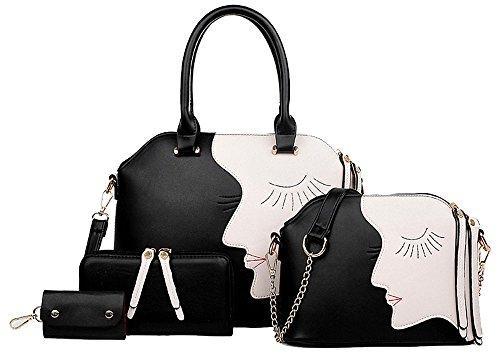 1 Juego de Bolsas para Mujer - Bolsa de Piel + Cartera + Bolso + Paquete de Claves/Bolso Set - Marrón Negro