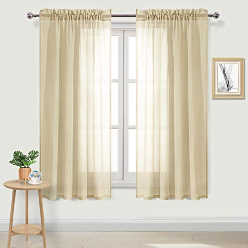 DWCN Beige Sheer Curtains Faux Linen Rod Pocket Bedroom Curtains Set of 2 Panels 52 x 63 inch Length Drapes ()
