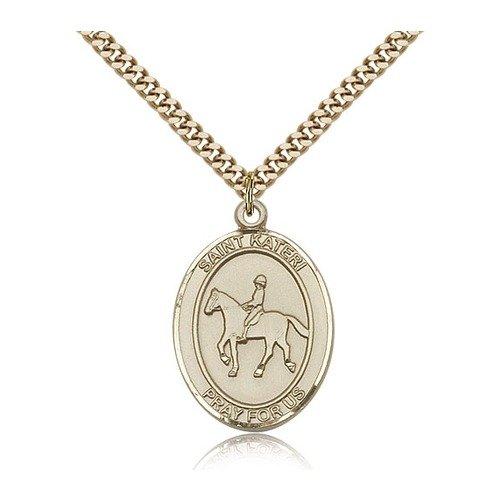 14 ktゴールド聖Kateri / Equestrian medal B0741CQ45Q